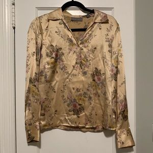 Kate Hill Silk Floral Button Down Blouse